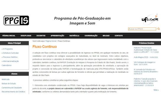 Informações detalhadas sobre a seleção em fluxo contínuo estão no site do PPGIS (Imagem: Reprodução)