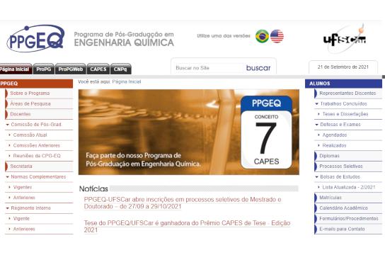 Site do PPGEQ, em que podem ser encontrados os editais (Imagem: Reprodução)